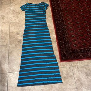 Blue and Heather Gray Maxi Dress